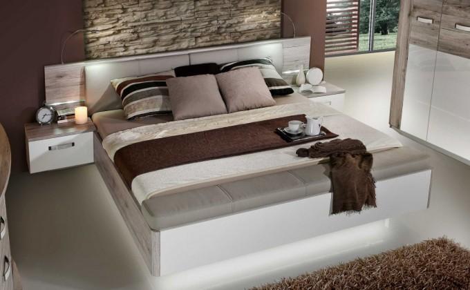 Bazár spálne Rondino - Komplet, posteľ 180 cm (dub pieskový, biely lesk)