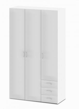 Bazár spálne Space - 3 dvere (biela, vysoký lesk)