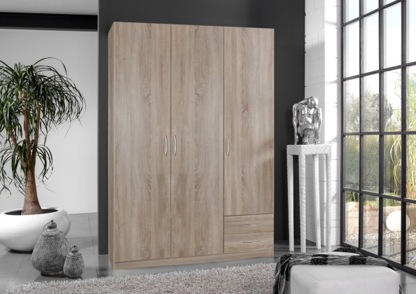 Bazár spálne Sprint - skriňa 135 cm,3x dvere,2x police (dub hrubá štruktúra)