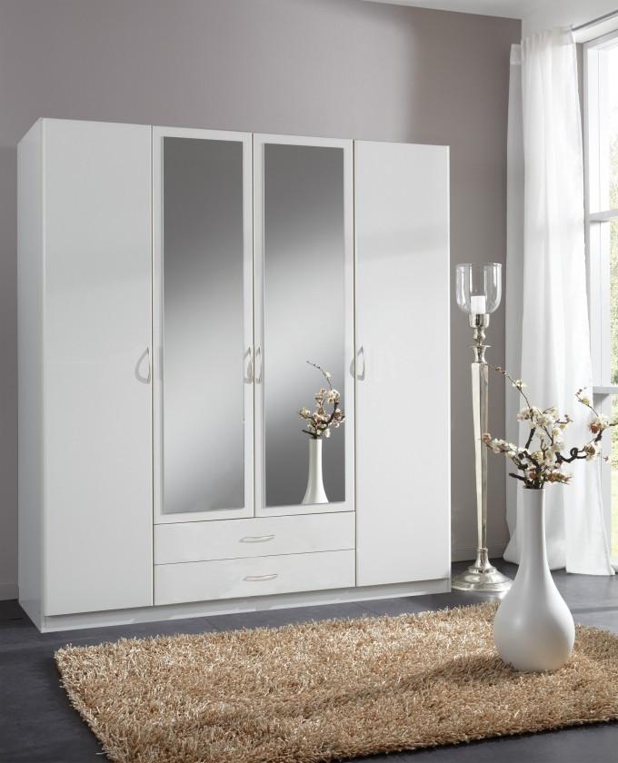 Bazár spálne Sprint - skriňa 180 cm,4x dvere,2x zrkadlo (alpská biela)