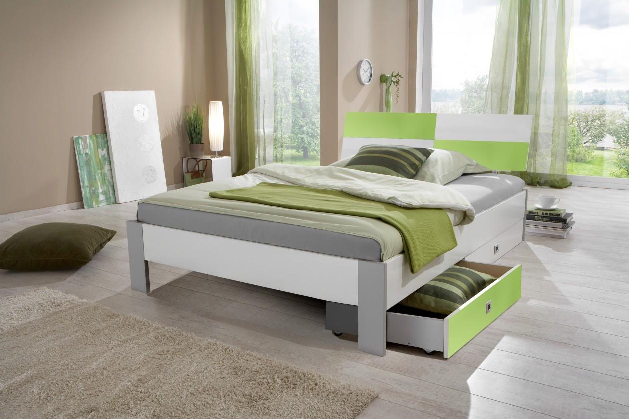 Bazár spálne Sunny - Posteľ, úložný priestor, 140x200 (biela, zelené jablko)