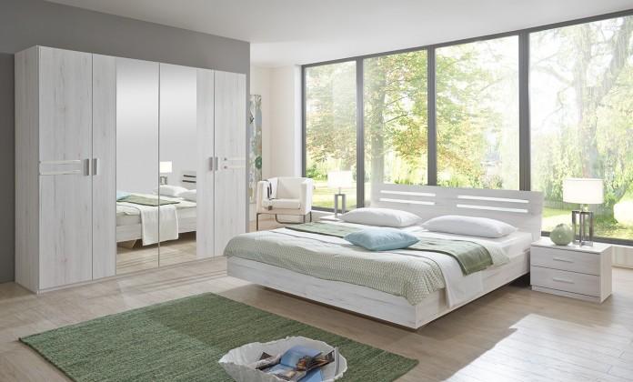 Bazár spálne Susan - komplet, posteľ 180cm (biely dub, chrómové prvky)
