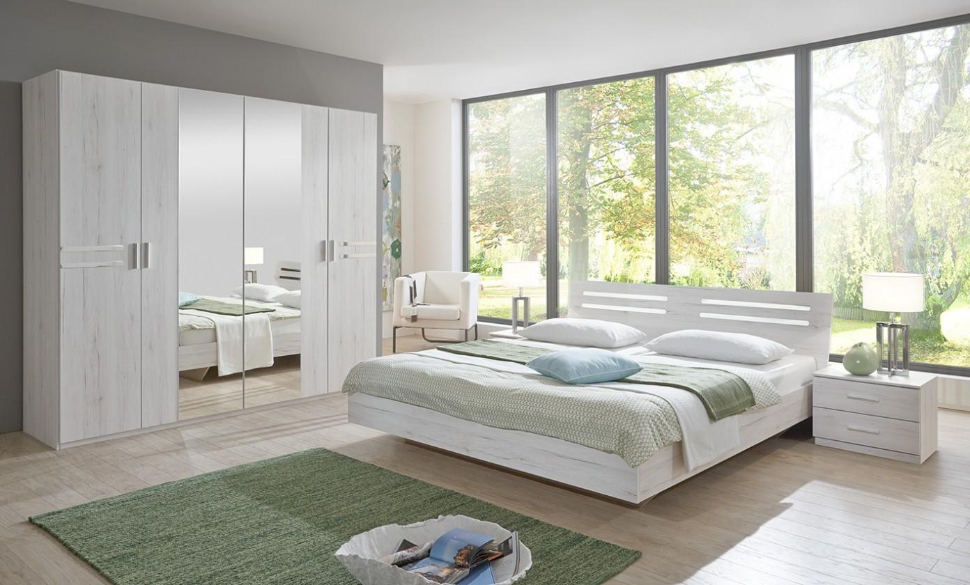 Bazár spálne Susan - komplet velký, posteľ 160cm (biely dub, chrómové doplnky)