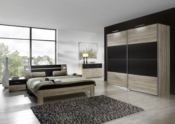 Bazár spálne Vicenza - Komplet veľký 2, posteľ 180 cm (dub/lava čierna)
