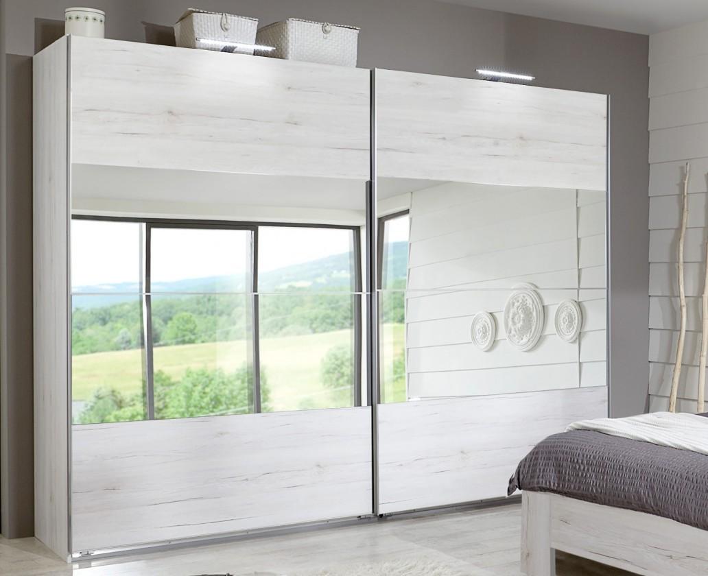 Bazár spálne Vicenza - šatníková skriňa 2, 2x posuvné dvere (dub biely)