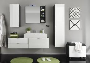 Beach - Kúpeľňová zostava s umývadlom 80 cm (sivá, biela)