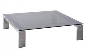 Besutto - konferenčný stolík (dymové sklo, chrómové nožičky)