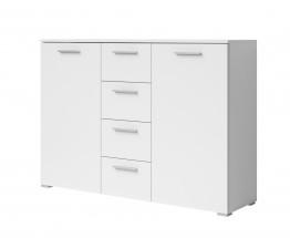 Beta - Kombi komoda, 4x zásuvka, 2x dvere (biela / biela)