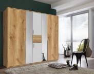 Beta - Skriňa 221x210x61, posuvné dvere (biela / dub sivý)