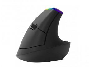 Bezdrôtová myš Delux M618C, vertikálna, 6 tlačidiel, čierna