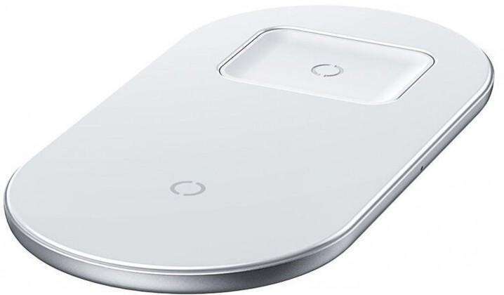 Bezdrôtová nabíjačka 2v1 bezdrôtová nabíjačka s QI pre telefón a AirPods, 18W, biela