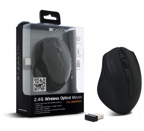 Bezdrôtové myši CANYON CNL-MBMSOW01, čierna