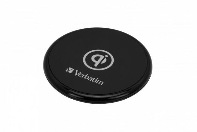 Bezdrôtové nabíjačky Bezdrôtová nabíjačka Verbatim 10W s QI, gumová, čierna