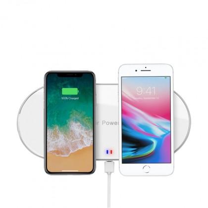 Bezdrôtové nabíjačky Bezdrôtová nabíjačka WG pre dva telefóny s QI, biela