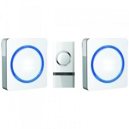 Bezdrôtové zvončeky Solight 2x 1L23 Bezdrôtový zvonček, do zásuvky, 120m, biely