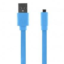 Bigben CABLEFLATMICBL - Micro USB kábel plochý 2.1A 1m, modrý