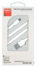 Bigben CABLEFLATMICW - Micro USB kábel plochý 2.1A 1m, biely