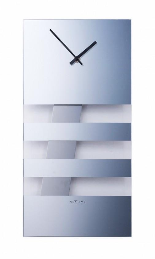 Bold Stripes - hodiny, nástenné kyvadlové (sklo, strieborné)