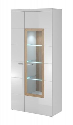 Box In - Vitrína 2 dvere, 1 dvere presklenné
