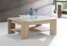 Brandy - Konferenčný stolík (dub sonoma/biele sklo)