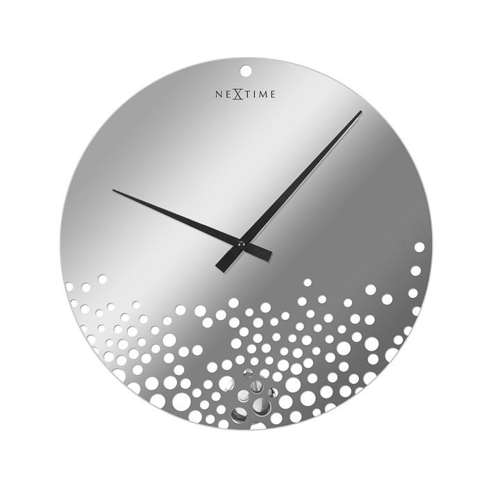 Bubbles - hodiny, nástenné, guľaté (sklo, biele)