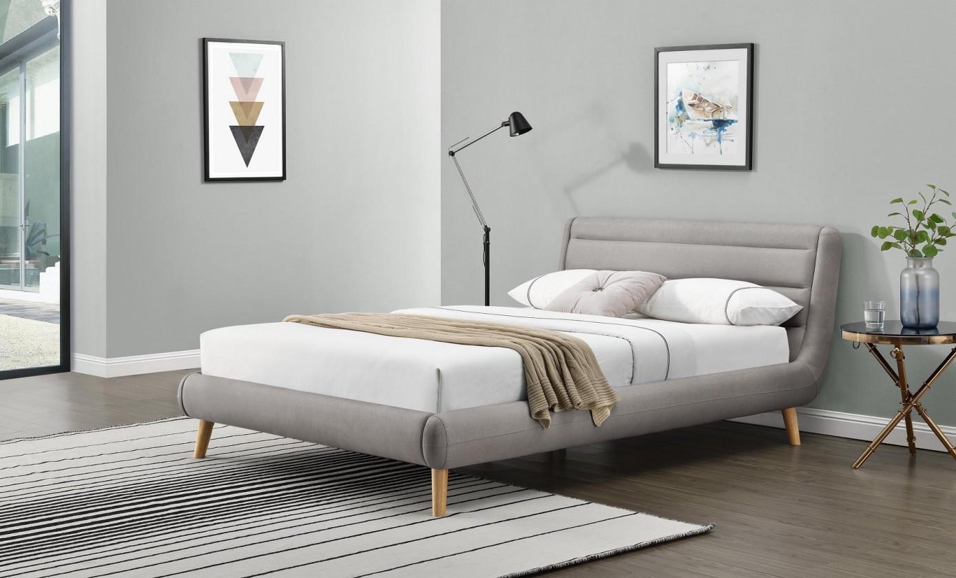 Čalúnená Čalúnená posteľ Elanda 160x200, svetlo šedá, bez matraca a úp