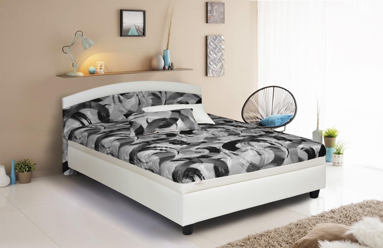 Čalúnená Čalúnená posteľ Zonda 120x200, šedá/biela, vrátane matracov a úp