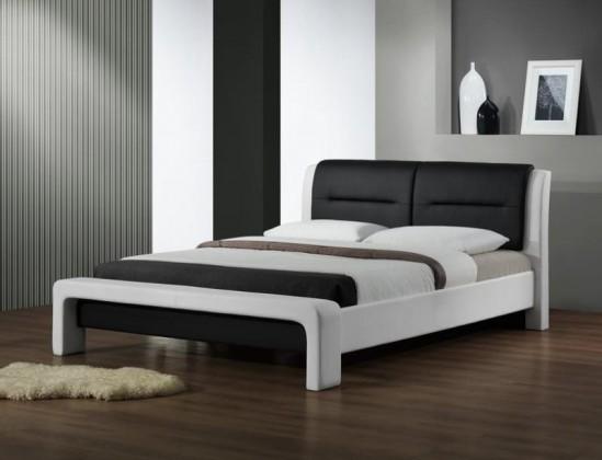 Čalúnená Cassandra - Posteľ 200x160, rám postele, rošt (bielo-čierna)