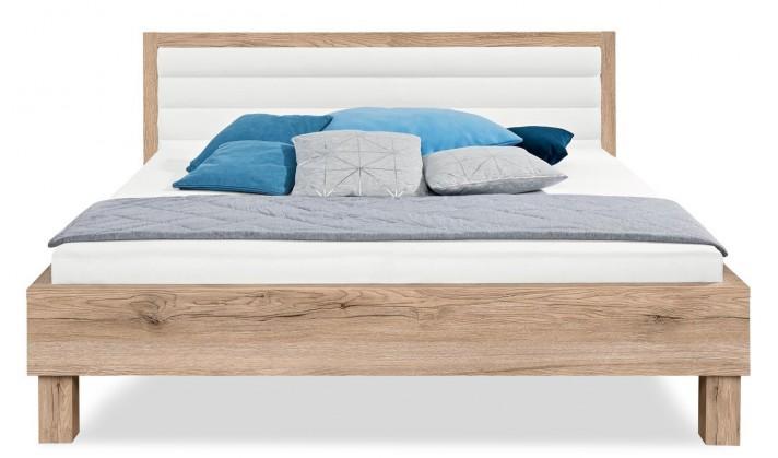 Čalúnená Cosmo 200x140, drevené nohy (dub pieskový, čalúnené čelo biele)