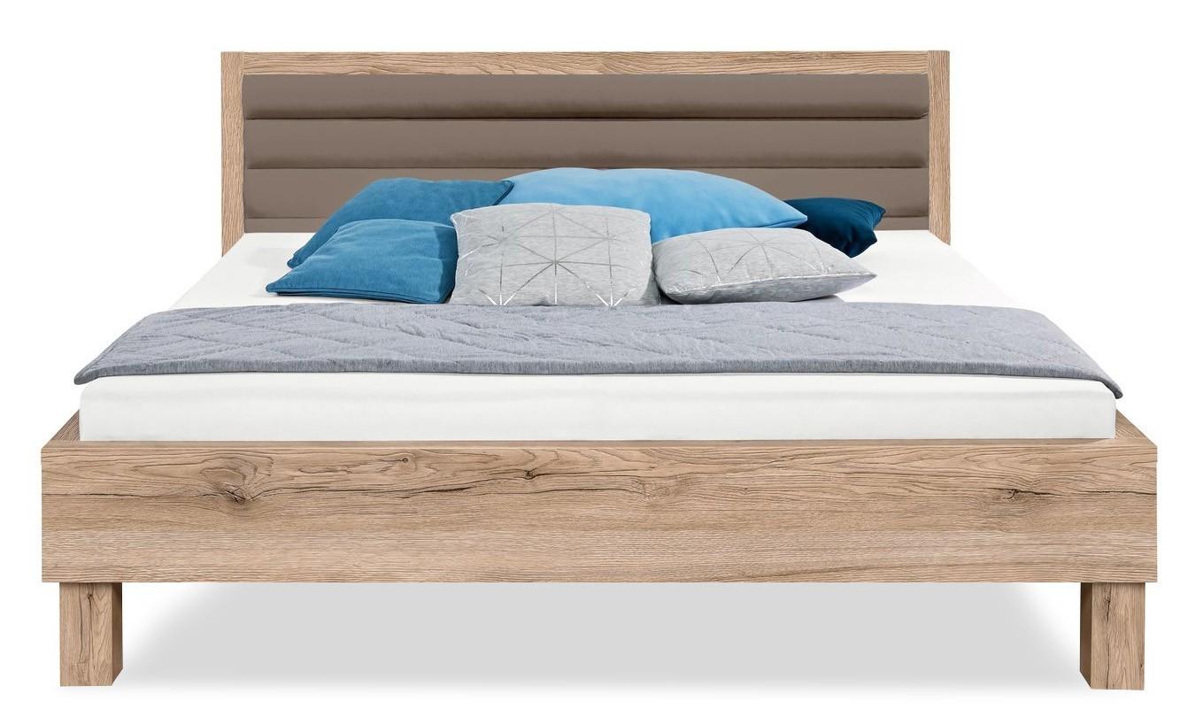 Čalúnená Cosmo - 200x140, drevené nohy (dub pieskový, čalúnené čelo sivé)