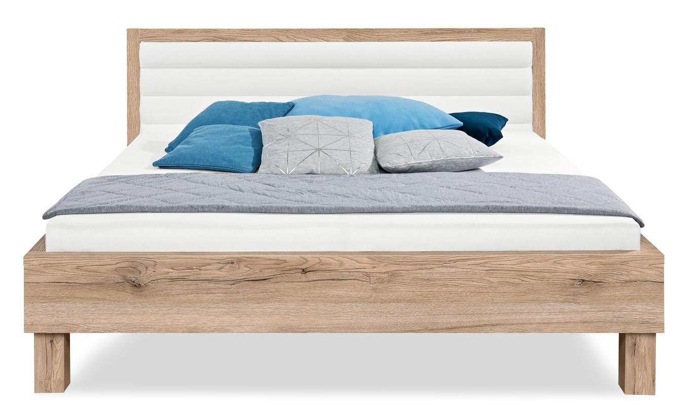 Čalúnená Cosmo 200x180, drevené nohy (dub pieskový, čalúnené čelo biele)