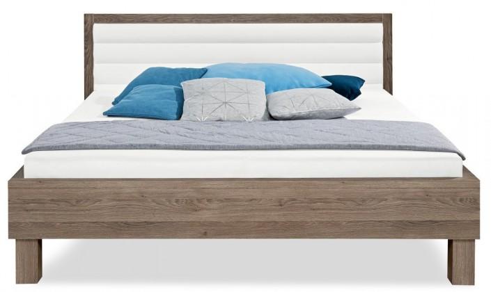 Čalúnená Cosmo - 200x180, drevené nohy (dub tmavý, čalúnené čelo biele)