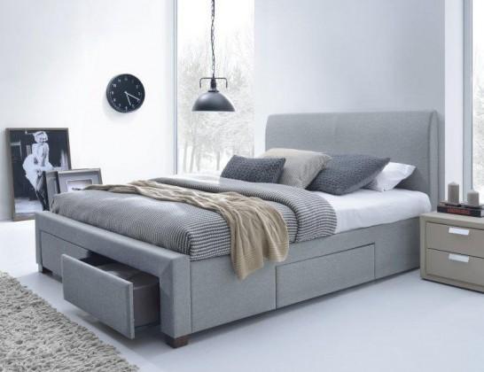 Čalúnená Marion - Posteľ 200x160, rám postele, rošt, 4 šuplíky (sivá)