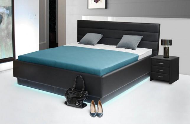 Čalúnená Patria 6 - posteľ 200x180, úložný priestor, výklopný polohovateľný rošt, LED podsvietenie