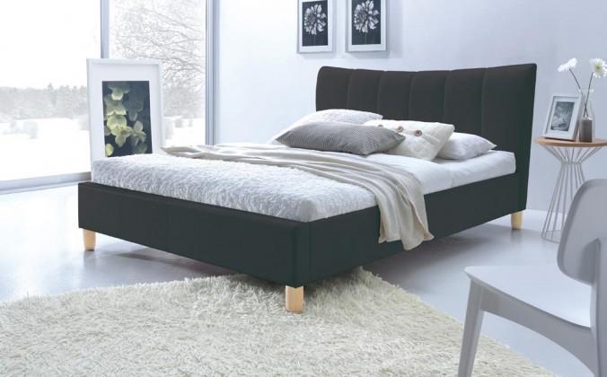 Čalúnená Phily - Posteľ 200x160, rám postele, rošt (čierna/nôžky buk)