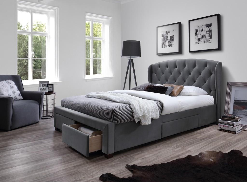 Čalúnená posteľ Čalúnená posteľ Etienne 160x200, sivá, vrátane roštu a ÚP
