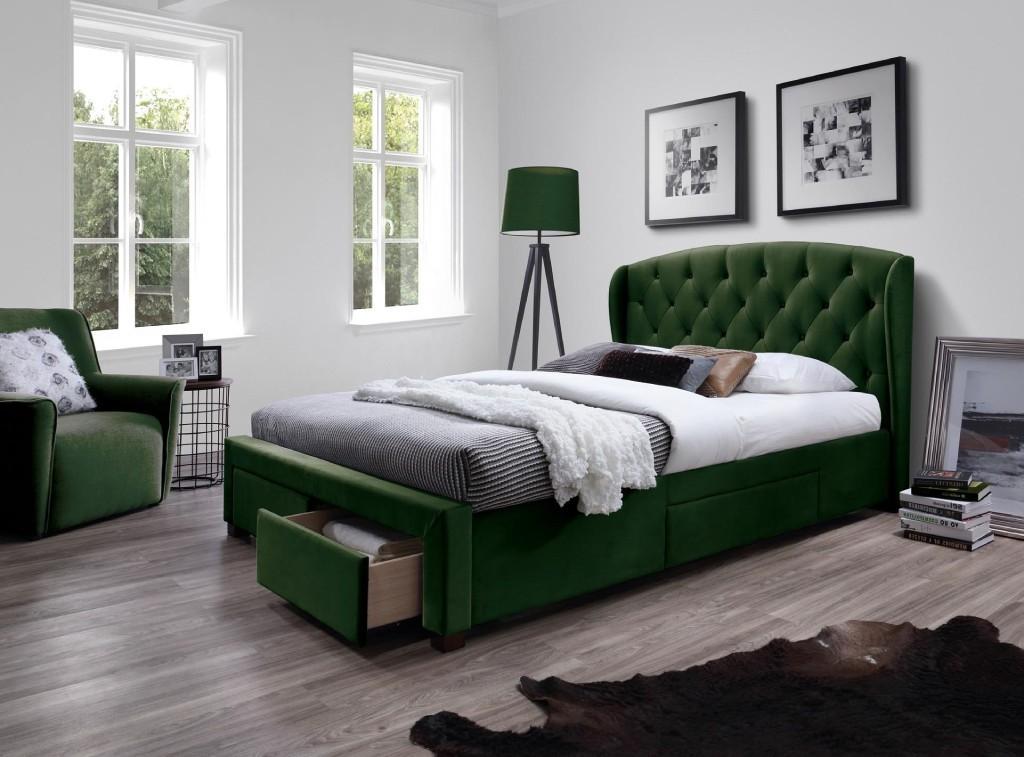Čalúnená posteľ Čalúnená posteľ Etienne 160x200, zelená, vrátane roštu a ÚP