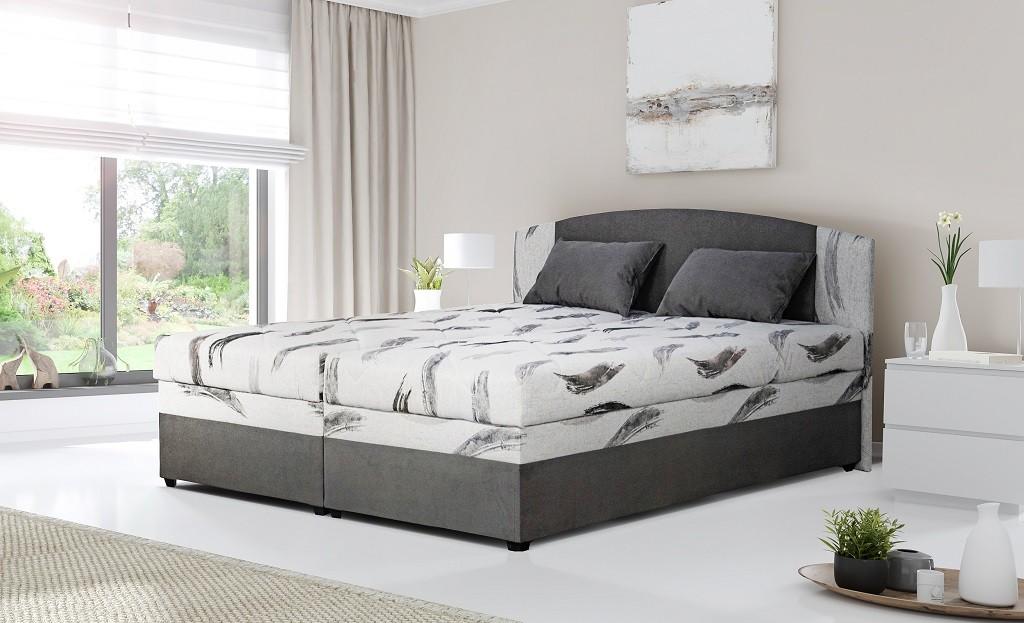 Čalúnená posteľ Čalúnená posteľ Kappa 180x200, sivá, vr. matracov, roštu a ÚP