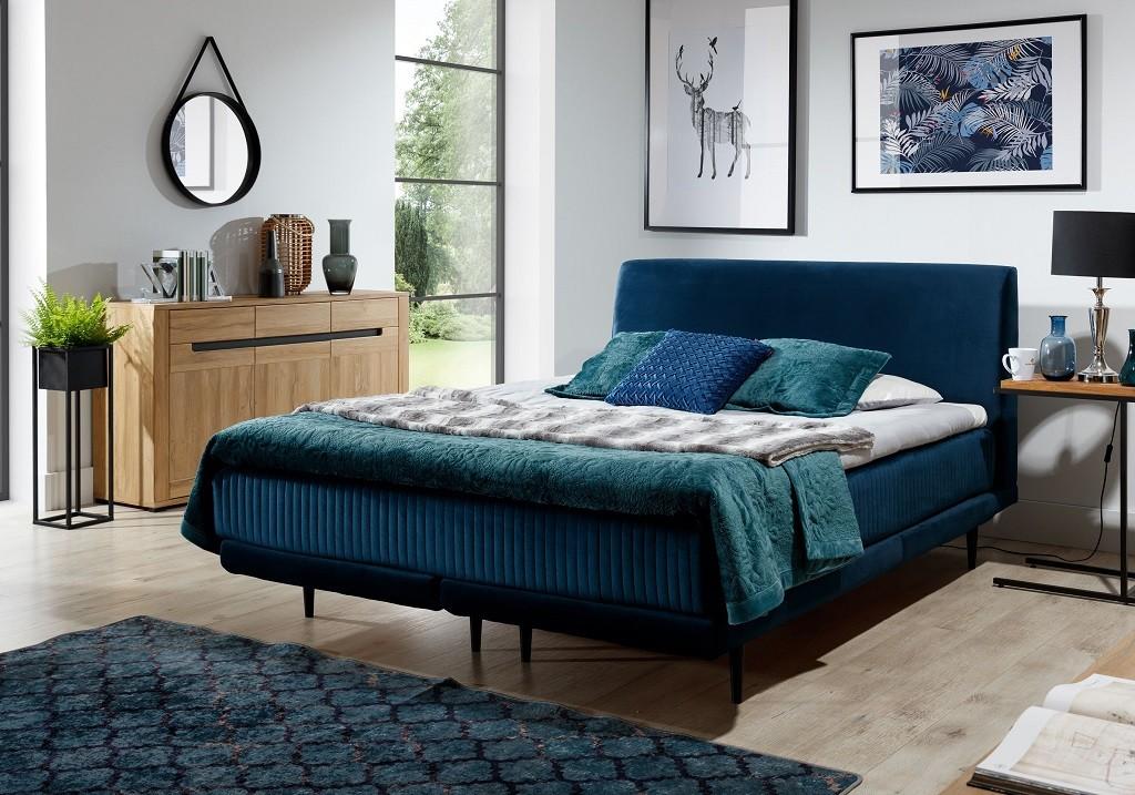 Čalúnená posteľ Čalúnená posteľ Scarlett 180x200, tmavo modrá, vr. matraca