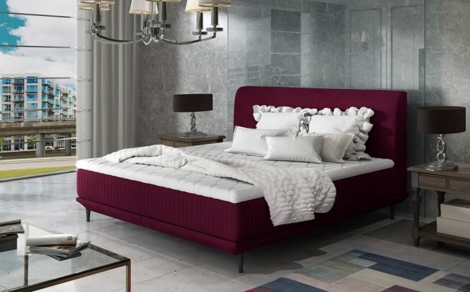 Čalúnená posteľ Čalúnená posteľ Scarlett 180x200, vínovo červená, vr. matraca