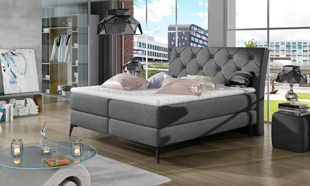 Čalúnená posteľ Čalúnená posteľ Violet 180x200, sivá, vr. matraca a ÚP