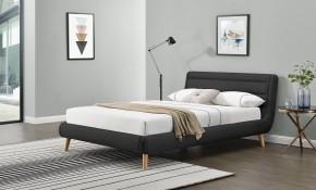 Čalúnená posteľ Elanda 160x200, tmavo šedá, bez matraca a úp