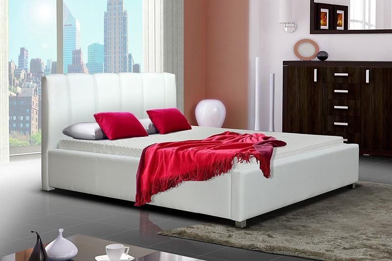 Čalúnená Posteľ I - biela, matracový rám, úložný priestor