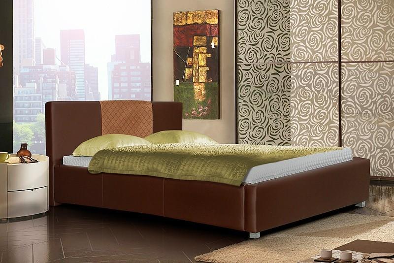 Čalúnená Posteľ III - hnedá, matracový rám