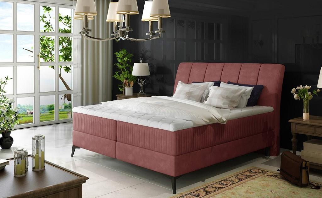 Čalúnená posteľ Posteľ Boxspring Valentina 180x200, ružová, vr.mat.,topperu a úp