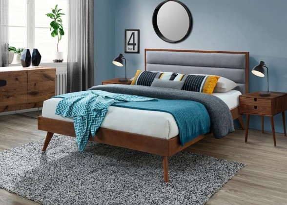Čalúnená posteľ Posteľ Olivia 160x200, orech, vrátane roštu, bez matracov a ÚP