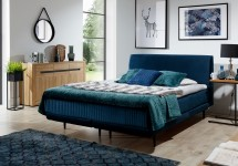 Čalúnená posteľ Scarlett 180x200, tmavo modrá, vr. matraca