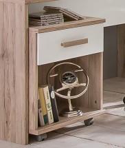 Cariba - Mobilný stolík (san remo dub, biela)