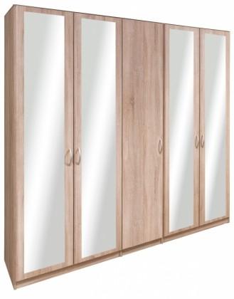 Cassanova - Šatníková skriňa (1x dvere, 4x dvere so zrkadlom)
