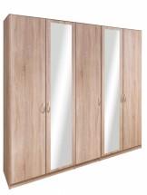 Cassanova - Šatníková skriňa (3x dvere, 2x dvere so zrkadlom)